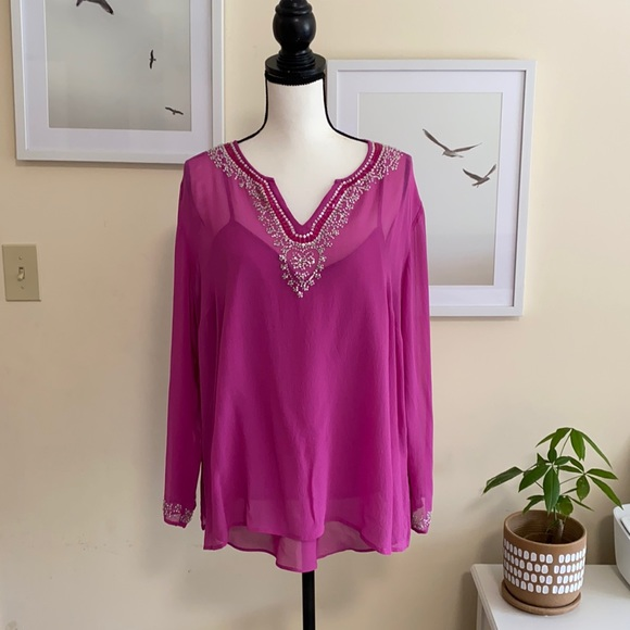 NY Collection 100% Silk Top